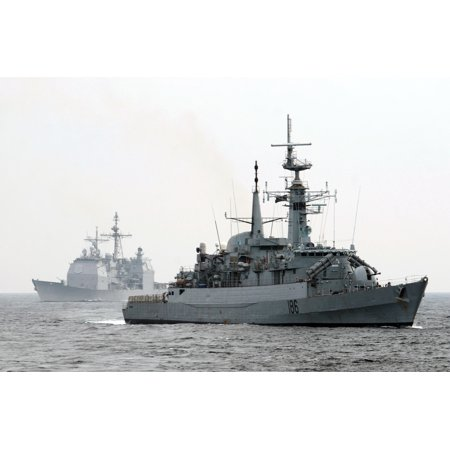 LAMINATED POSTER The Pakistani navy destroyer PNS Shahjahan (D 186), right, and guided-missile cruiser USS Mobile Bay Poster Print 24 x 36