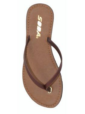 828b5d0393f Product Image Soda Shoes Women Flip Flops Basic Plain Sandals Strap Casual  Beach Thongs FELER Brown 6.5