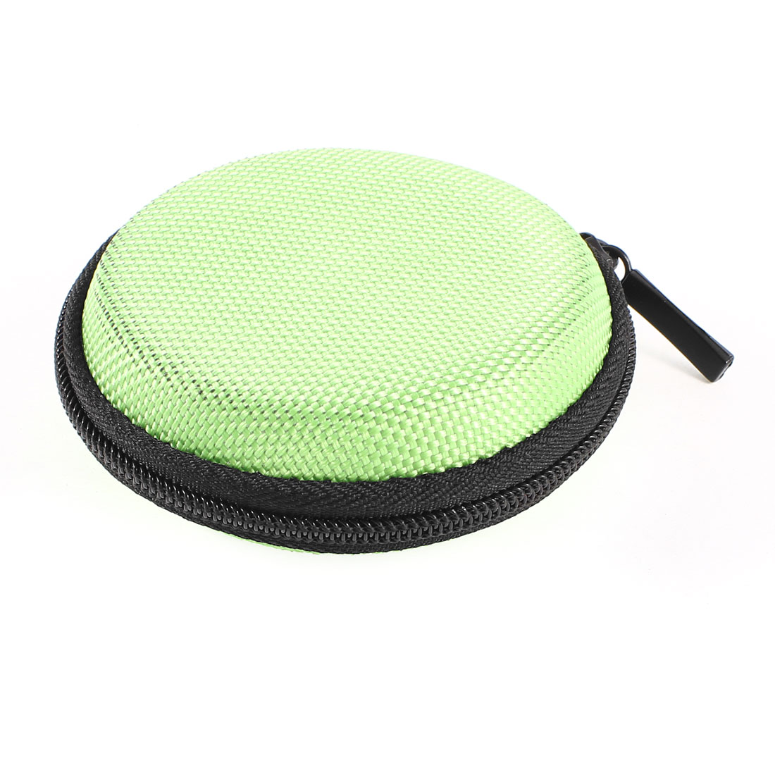 Unique Bargains Green Round Zipper Headphone Earphone Headset Case Pouch Bag Storage