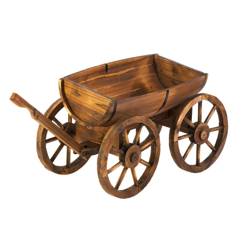 Garden Planters Large, Wooden Planter Box Decorative Apple Barrel Planter Wagon by Summerfield Terrace