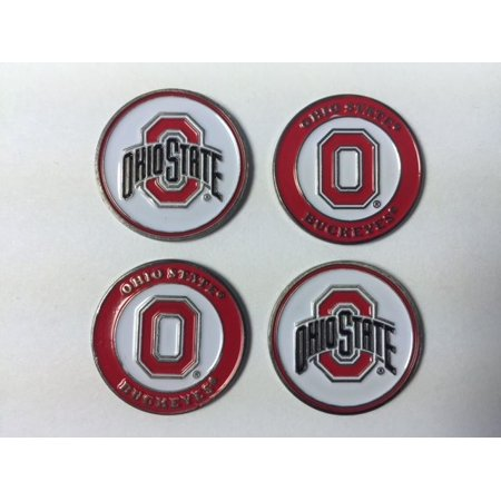 Ohio State Buckeyes Ball Marker Set of 4- markers fits hat clip or divot tool