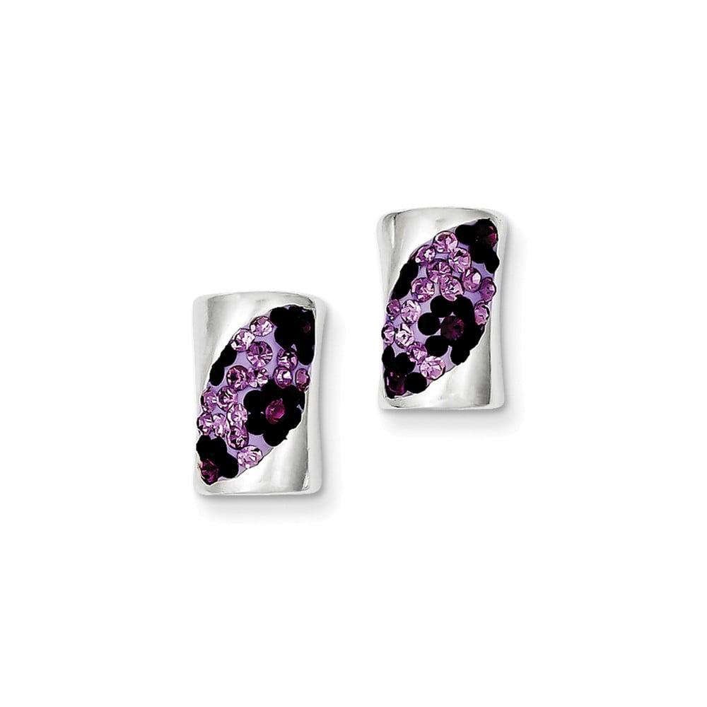 Sterling Silver Stellux Crystal Purple Stud Earrings (0.5IN x 0.3IN )