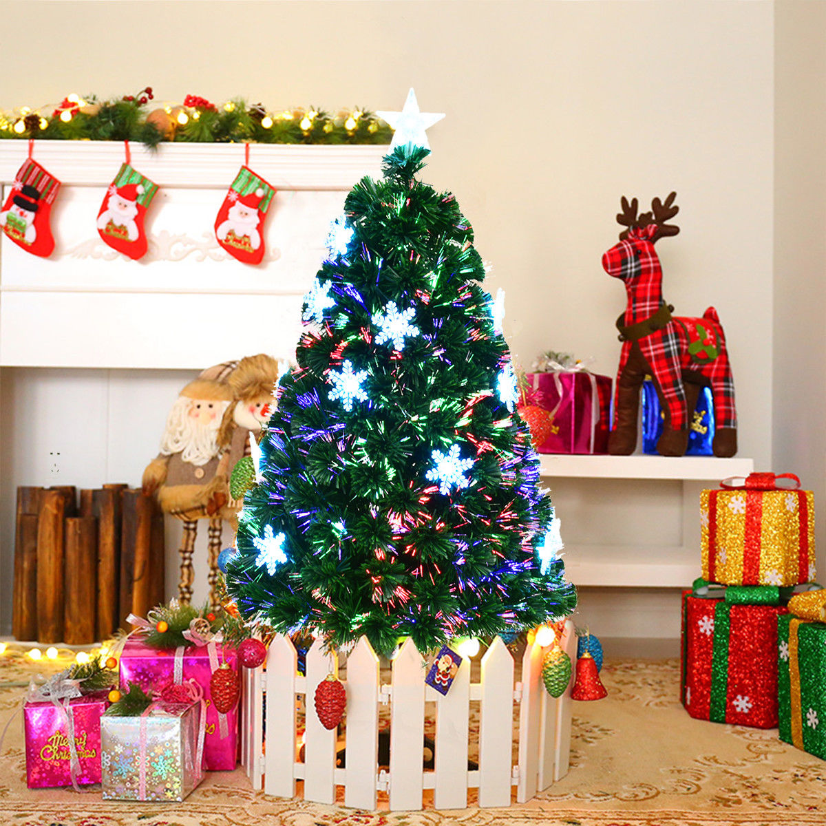 Costway 4'/5'/6'/7'  Pre-Lit Fiber Optic Artificial Christmas Tree w/Multi-Color Lights Snowflakes