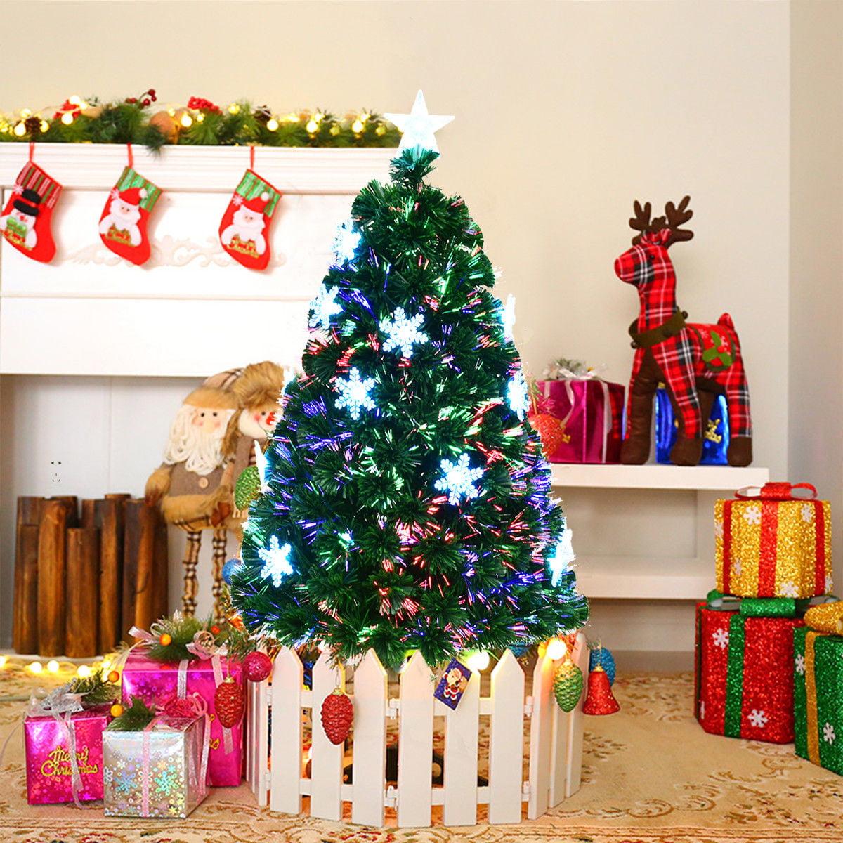 Costway 4'/5'/6'/7'  Pre-Lit Fiber Optic Artificial Christmas Tree w/Multi-Color Lights Snowflakes