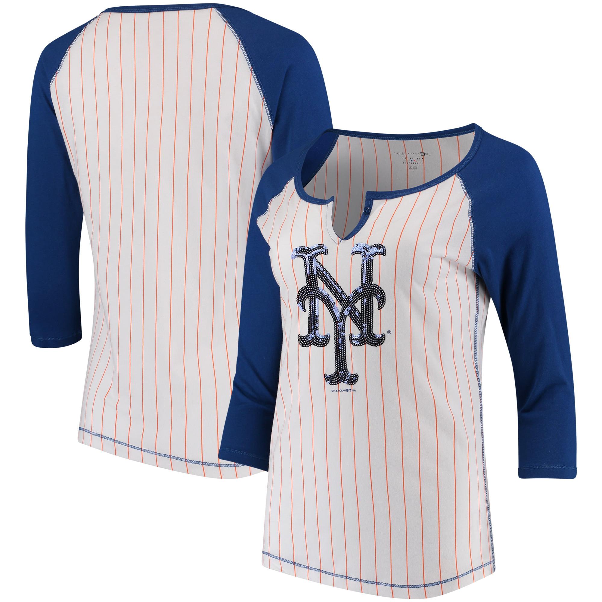 New York Mets 5th & Ocean by New Era Women's Pinstripe 3/4-Sleeve Notch Neck Raglan T-Shirt - White/Royal