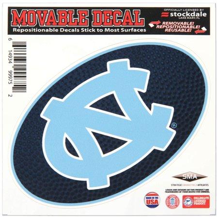 "North Carolina Tar Heels 6"" x 6"" Team Ball Die-Cut Repositionable Decal - No Size"
