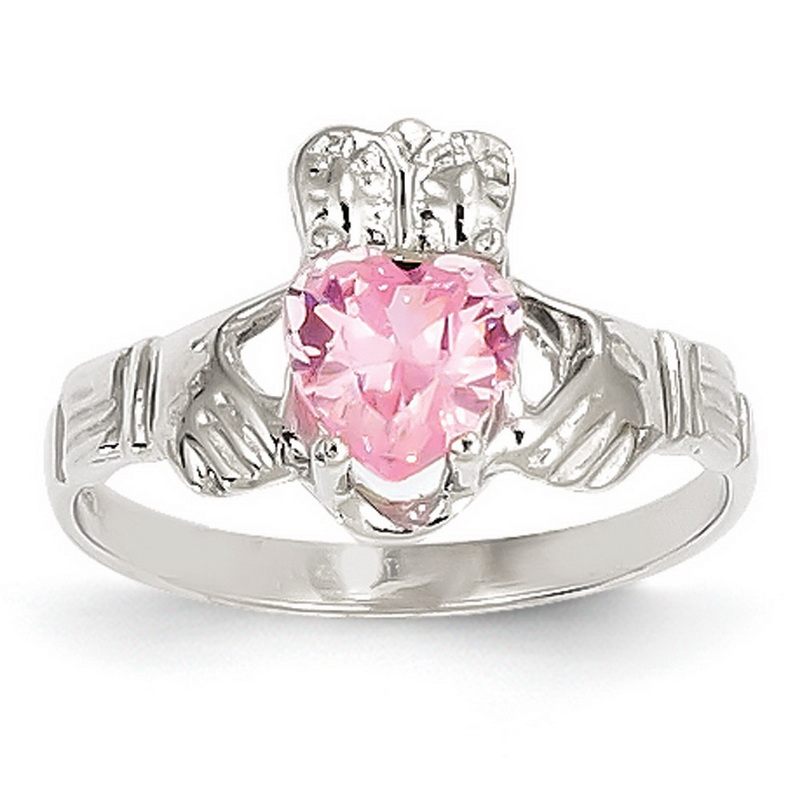 14k white gold 6mm cz october birthstone claddagh ring