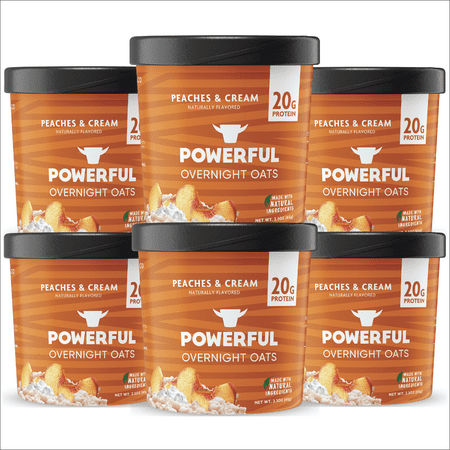 Powerful Overnight Oats Oatmeal Cup, High Protein, Whole Grain, Kosher, Natural Ingredients, 20g Protein, Peaches and Cream, 6 Pack