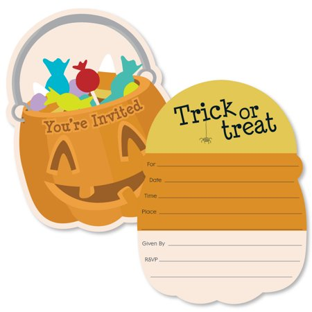 Halloween Invitation (Trick or Treat - Shaped Fill-in Invitations - Halloween Party Invitation Cards with Envelopes - Set of)