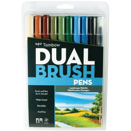 Tombow Landscape Color Dual Brush Pens Set, 10 Pieces](Brush Pen Set)