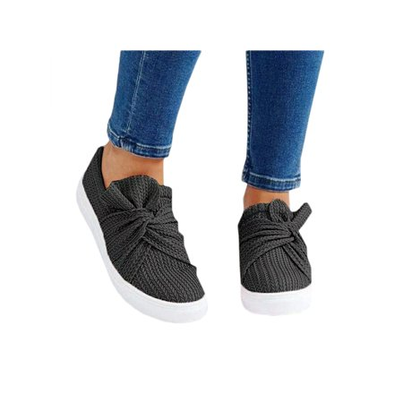 Women Casual Sneakers Slip On Loafers Comfort Trainers Bowknot Flat Pumps (Comfort Womens Black Loafers Shoes)