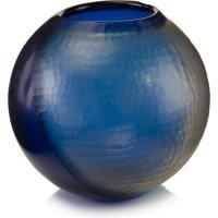 Vase JOHN-RICHARD Round Indigo Blue Polished Nickel Glass New Hand-Carve JR-1716