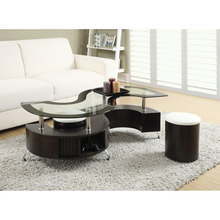 Fabulous Coaster Furniture Glass Top Coffee Table With Stool Camellatalisay Diy Chair Ideas Camellatalisaycom
