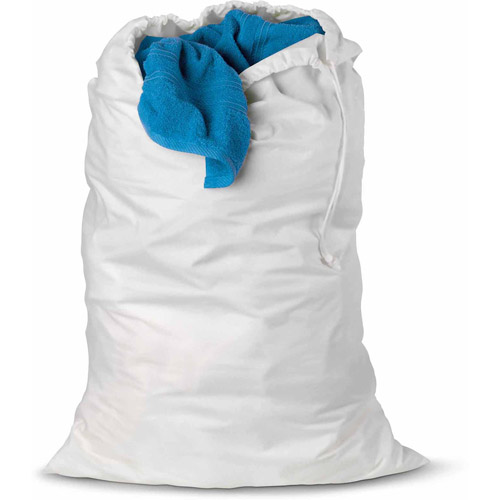 Honey Can Do Nylon Laundry Bag with Drawstring, White (Pack of 3)