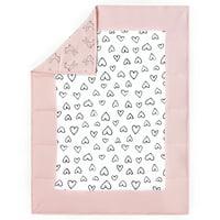 Little Star Organic 100% Pure Organic Cotton Reversible Quilt, Pink-Modern Blush