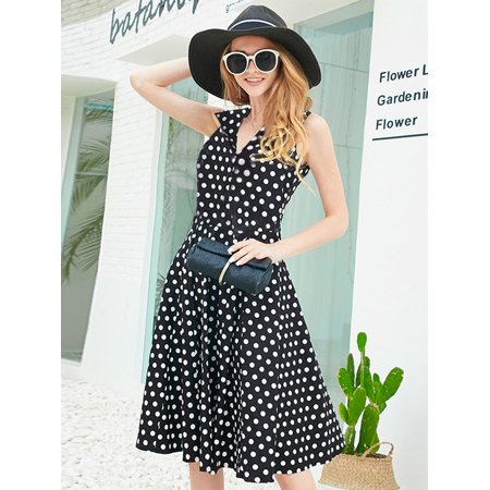 Alisa Pan Women's Retro 40s Polka Dot V Neck Fit and Flare Cocktail Party Wear to Work Casual Dresses For Women 05933 US 12 Wear Polka Dots