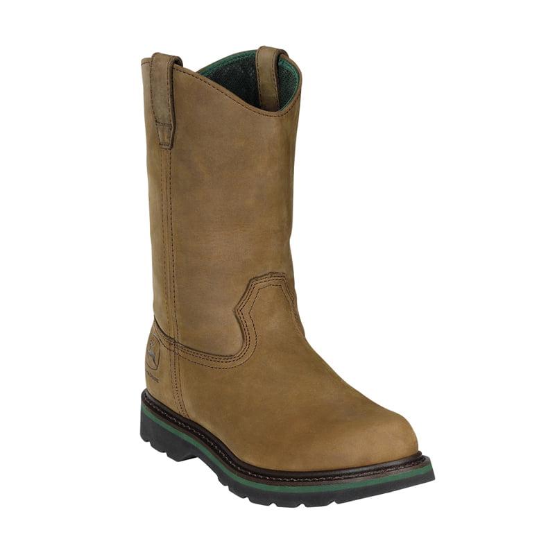 """John Deere JD5124: Men 11"""" Wellington Dark Brown Crazy Horse Leather Work Boots by John Deere"""