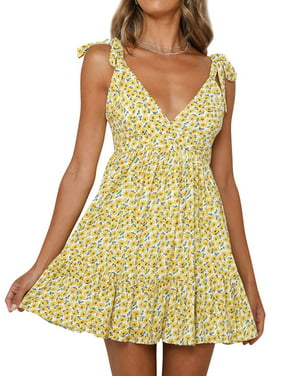 Women V Neck Floral Printed Slings Lace-up Rushing Mini Dress
