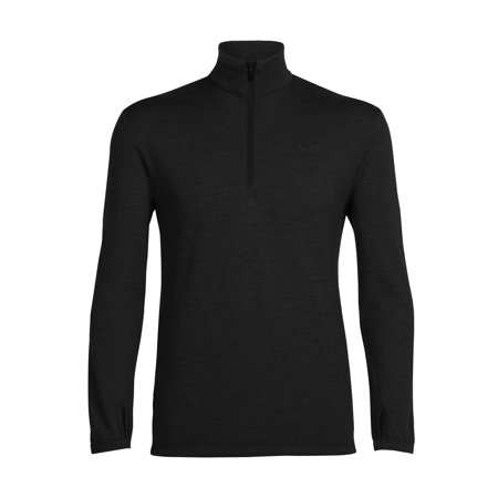 Mid Layer Ski - Icebreaker Men's Mid Layer Long Sleeve Half Zip, Black, X-Large
