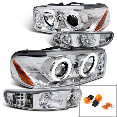 Spec-D Tuning For 2001-2006 GMC Yukon Denali Projector Head Light + Bumper Lights (Left+Right) 2001 2002 2003 2004 2005