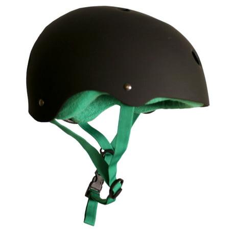 Krown Elite Skateboard Helmet ABS RUBBER + GREEN TOWEL LINER Custom Fit Size LRG