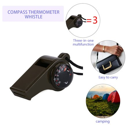 OUTAD Plastic 3 in1 Whistle Compass Thermometer For Outdoor Emergency Gear Camping olive green - image 2 of 8