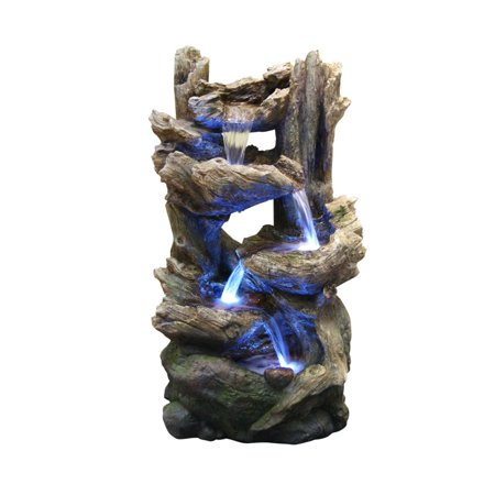 Alpine Corporation 5-Tier Rainforest Rock Water Fountain with LED Lights