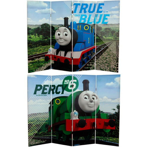 Oriental Furniture 48'' x 63'' Tall Double Sided Thomas and Percy 4 Panel Room Divider