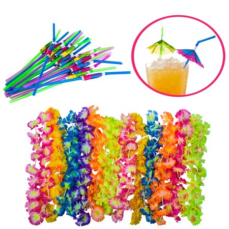 Tigerdoe - Luau party supplies - hawaiian party favors - 36 pc. - lei necklaces and umbrella straws - Luau Hawaii
