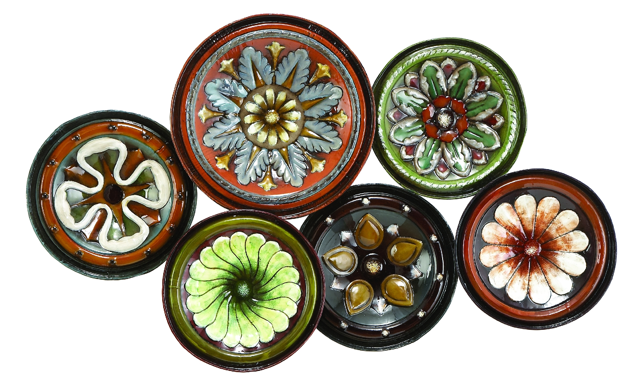 Metal Wall Decor With Six Round Shaped Plates by Benzara