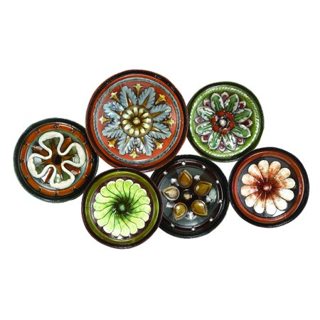 Metal Wall Decor With Six Round Shaped Plates - Walmart.com