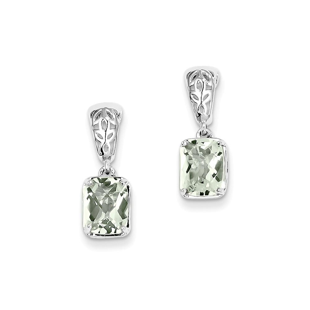 Sterling Silver 0.3IN Long Green Quartz Earrings