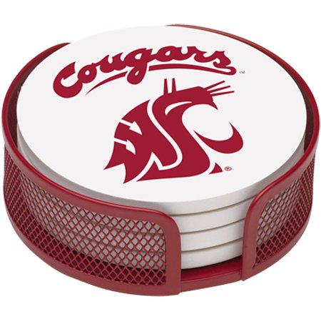 Washington Set - Stoneware Drink Coaster Set with Holder Included, Washington State University