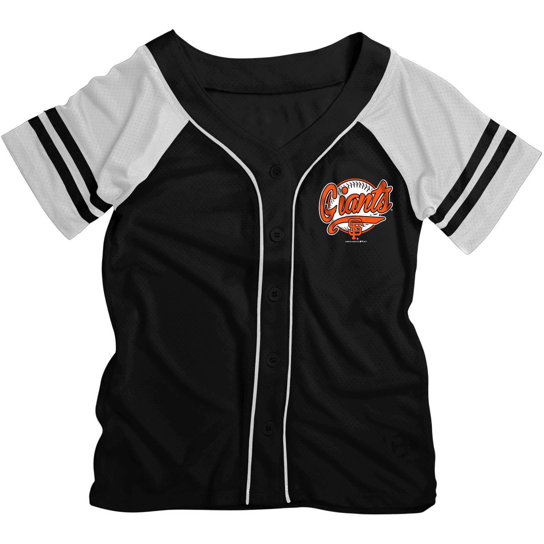 MLB San Francisco Giants Girls Short Sleeve Button Down Mesh Jersey