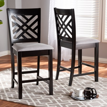Baxton Studio Caron Modern and Contemporary Gray Fabric Upholstered Espresso Brown Finished Wood Counter Height Pub Chair Set (Set of 2)