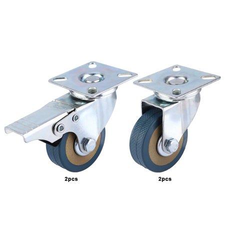Ccdes 4 PCS 2 Caster Polyurethane Wheels Swivel Plate Combo 2 Brake Wh