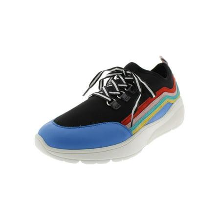 Steve Madden Womens Cavo Suede Wedge Sneakers Black 8 Medium