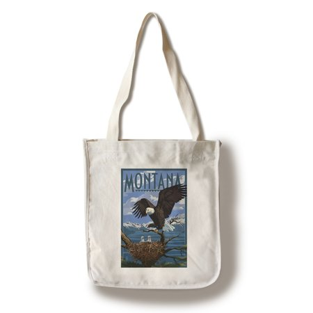 Montana   Eagle Perched With Chicks   Lantern Press Poster  100  Cotton Tote Bag   Reusable