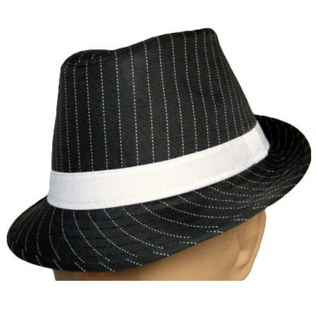 Flex Fit Pinstripe Hat - Black Fedora With White Pinstripes Hat Adult Gangster Roaring 20's Stripe