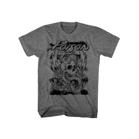 Poison Rock Band Skull And Snake American Classics Adult T-Shirt