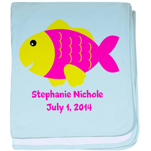 Cafepress Personalized Fish (Pink) Baby Blanket