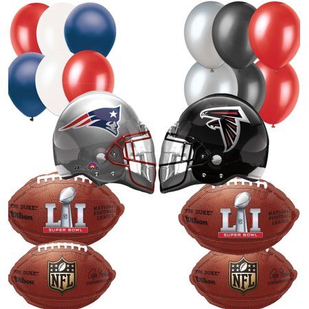 Falcons Patriots Nfl Super Bowl Face Off Helmet Football Balloon 20Pc Party Pack