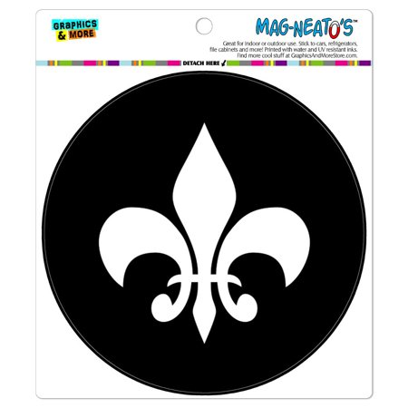 - Fleur de Lis Black - Circle MAG-NEATO'S(TM) Car/Refrigerator Magnet