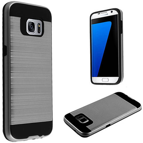Mundaze Grey Brushed Metal Double layer Case Cover for Samsung Galaxy S7 edge