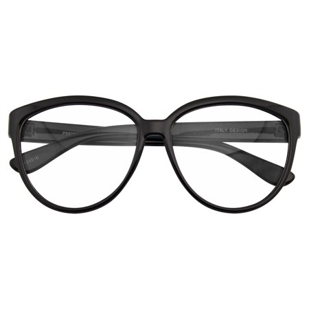Emblem Eyewear - Womens Oversize Retro Nerd Clear Lens Fashion Cat Eye Geek (Italian Luxury Eyewear)