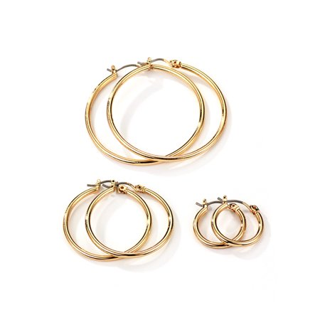 Neoglory Jewelry For Sensitive Ears Fine Gold Color Plated Trio Smooth Small Medium And Large