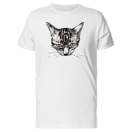 Cute Angry Cat Sketch Tee Men's -Image by Shutterstock