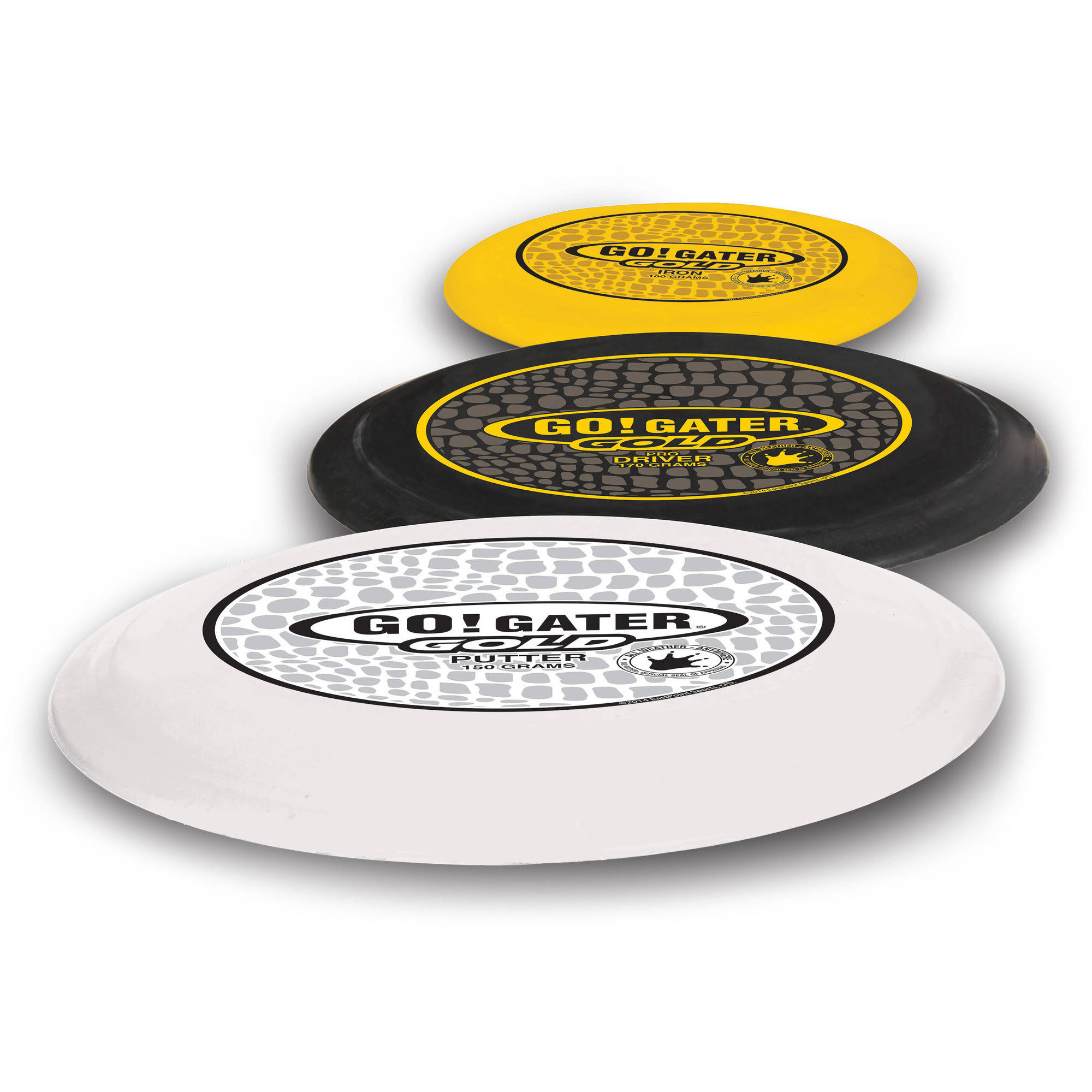 Go! Gater Gold Disc Golf Disc Set with Carry Caddy