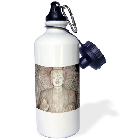 China Sake Bottle (3dRose A carved stone Buddha, carved from rock, Longmen Grottoes and Caves, Luoyang, Henan Province, China, Sports Water Bottle, 21oz)