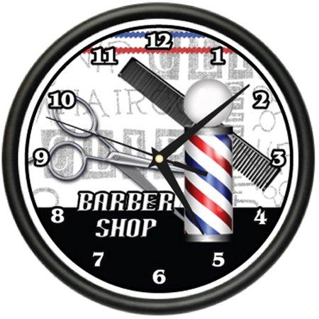Barber Shop In Walmart : BARBER SHOP Wall Clock hair salon cutter pole gift - Walmart.com